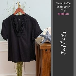 Talbots | Tiered Ruffle Vneck Linen Top